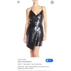 Adelyn Rae Sequin Wrap Dress, Size: M